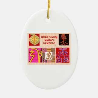 REIKI Master Healing ART Symbols - by NAVINJoshi Double-Sided Oval Ceramic Christmas Ornament