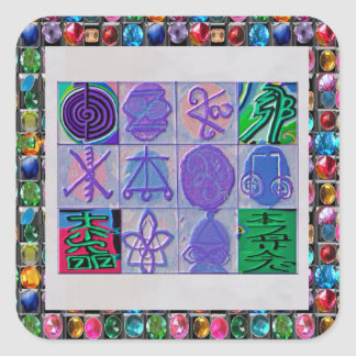 Reiki n Karuna Healing Sign 12    V24 Square Sticker