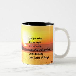 Reiki Principles on Lake Sunrise Yellow Two-Tone Coffee Mug