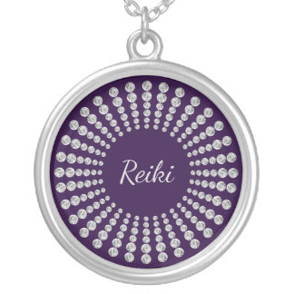 Reiki sparkle silver plated necklace