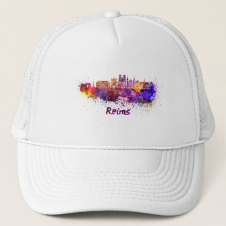 Reims skyline in watercolor trucker hat