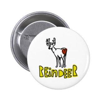 Reindeer 6 Cm Round Badge