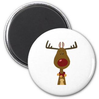 Reindeer 6 Cm Round Magnet