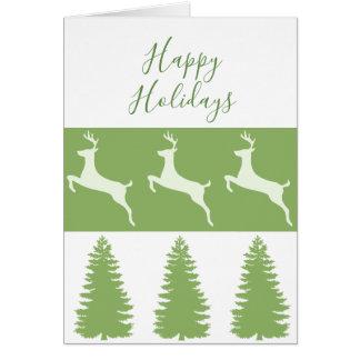 Reindeer and Pine Tree Happy Holidays Card