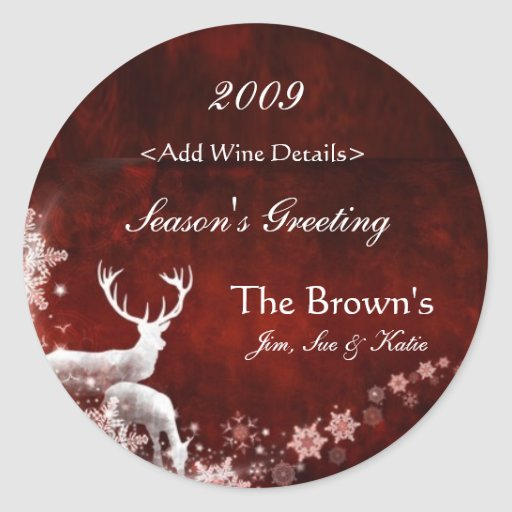 Reindeer and Red Customized Christmas Wine Labels Stickers