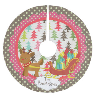 Reindeer and Sleigh Christmas Holiday Tree Skirt