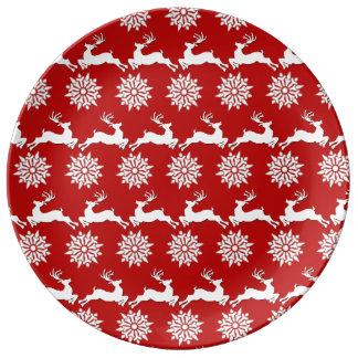 Reindeer and Snowflake Christmas Decorative Plate