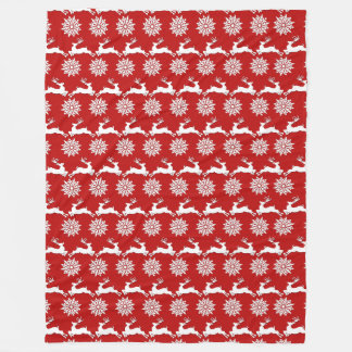 Reindeer and Snowflake Christmas Fleece Blanket