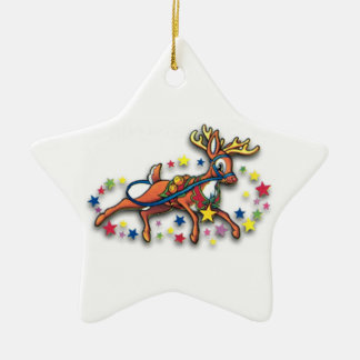 Reindeer And Stars Ceramic Star Decoration