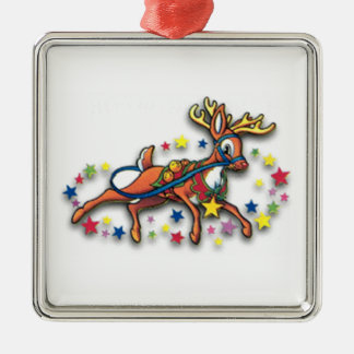 Reindeer And Stars Square Metal Christmas Ornament