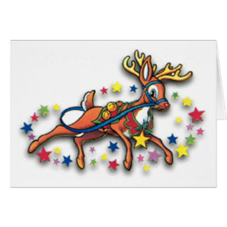 Reindeer And Stars Note Card
