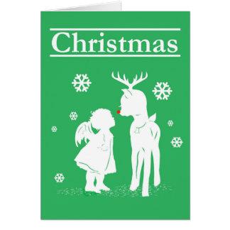 Reindeer Angel Christmas Snowing Postage Stamp Greeting Card