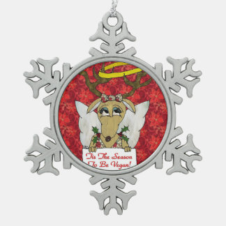 Reindeer Angel Tis The Season to Be Vegan Pewter Snowflake Decoration