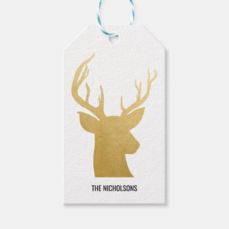 Reindeer | Antler | Faux Gold Foil | Holiday Gift Tags
