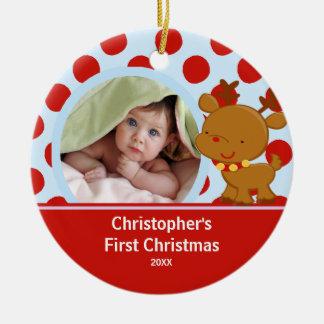 Reindeer Baby Boy Photo Christmas Ornament