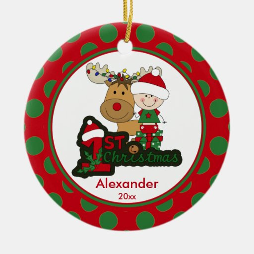 Reindeer baby 39 s first christmas ornament zazzle for Babys first christmas decoration