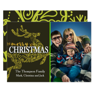 Reindeer Background Christmas Photo Card 13 Cm X 18 Cm Invitation Card