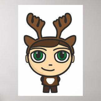 Reindeer Boy Cartoon Character Poster/Print Poster