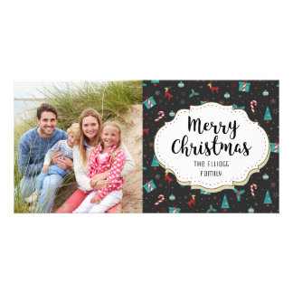Reindeer Candy Canes Holly Christmas Photo Card