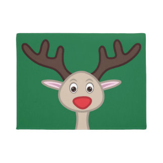 Reindeer cartoon character doormat