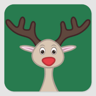 Reindeer cartoon character square sticker
