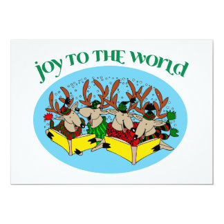 Reindeer Choir - Christmas Choir Carols 13 Cm X 18 Cm Invitation Card