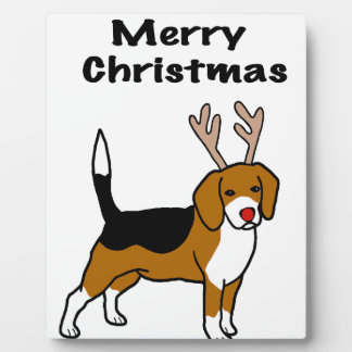 Reindeer Christmas Beagle Plaque