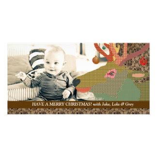 Reindeer Christmas Brown Photo Card