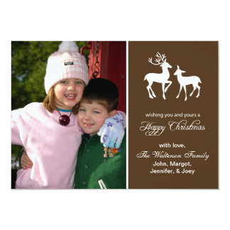 "Reindeer Christmas Card (Happy Christmas Brown) 5"" X 7"" Invitation Card"