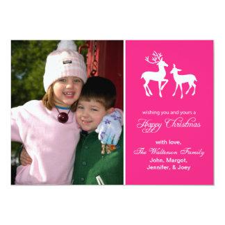"Reindeer Christmas Card (Happy Christmas Hot Pink) 5"" X 7"" Invitation Card"