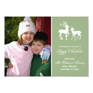 "Reindeer Christmas Card Happy Christmas (Sage) 5"" X 7"" Invitation Card"