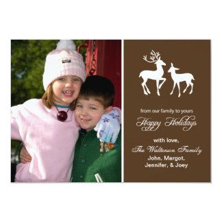 "Reindeer Christmas Card (Happy Holidays Brown) 5"" X 7"" Invitation Card"