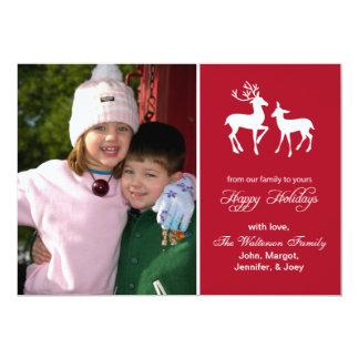 "Reindeer Christmas Card (Happy Holidays Burgandy) 5"" X 7"" Invitation Card"