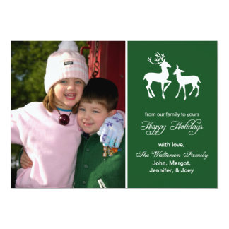 "Reindeer Christmas Card (Happy Holidays Evergreen) 5"" X 7"" Invitation Card"