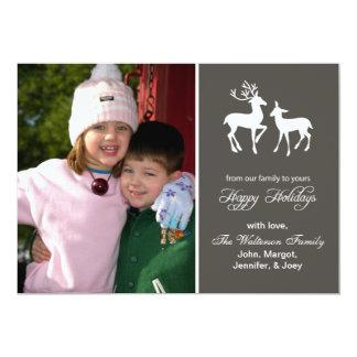"Reindeer Christmas Card (Happy Holidays Gray) 5"" X 7"" Invitation Card"