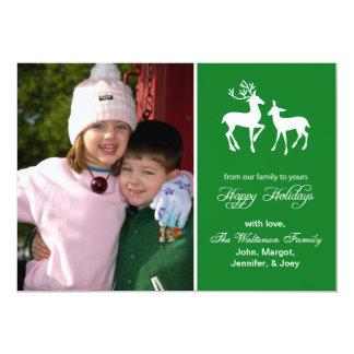 "Reindeer Christmas Card (Happy Holidays Green) 5"" X 7"" Invitation Card"