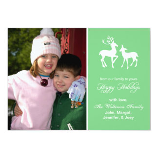 "Reindeer Christmas Card (Happy Holidays Mint Green 5"" X 7"" Invitation Card"