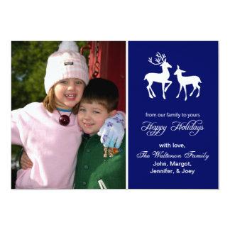 "Reindeer Christmas Card (Happy Holidays Navy Blue) 5"" X 7"" Invitation Card"