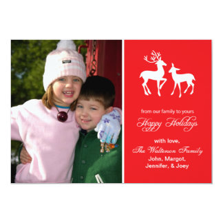 """Reindeer Christmas Card (Happy Holidays Red) 5"""" X 7"""" Invitation Card"""