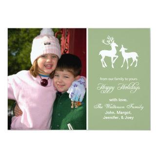 "Reindeer Christmas Card (Happy Holidays Sage) 5"" X 7"" Invitation Card"