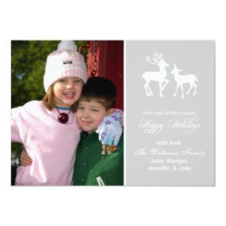 "Reindeer Christmas Card (Happy Holidays Silver) 5"" X 7"" Invitation Card"