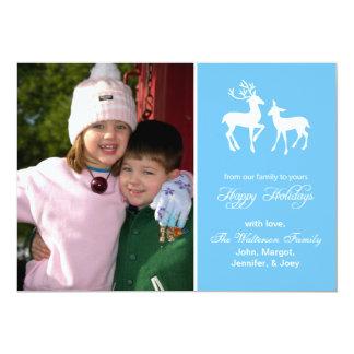"""Reindeer Christmas Card (Happy Holidays Sky Blue) 5"""" X 7"""" Invitation Card"""
