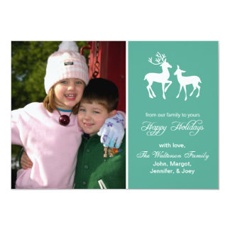 "Reindeer Christmas Card (Happy Holidays Teal) 5"" X 7"" Invitation Card"