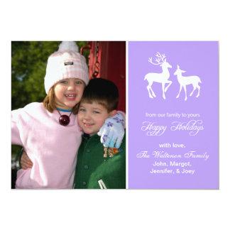 "Reindeer Christmas Card (Happy Holidays Violet) 5"" X 7"" Invitation Card"