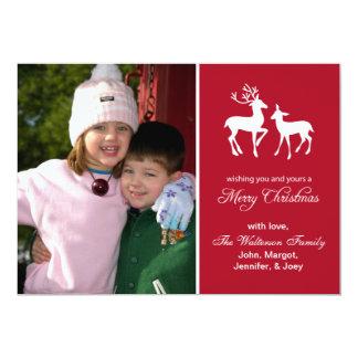 "Reindeer Christmas Card (Merry Christmas Burgandy) 5"" X 7"" Invitation Card"