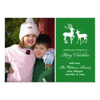 "Reindeer Christmas Card (Merry Christmas Green) 5"" X 7"" Invitation Card"