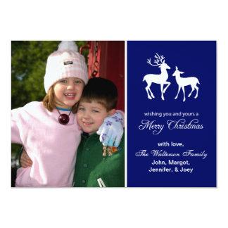 """Reindeer Christmas Card Merry Christmas Navy Blue 5"""" X 7"""" Invitation Card"""