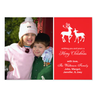 "Reindeer Christmas Card Merry Christmas (Red) 5"" X 7"" Invitation Card"