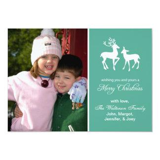 """Reindeer Christmas Card Merry Christmas (Teal) 5"""" X 7"""" Invitation Card"""