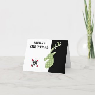 Reindeer Christmas Card Retro Nordic Hipster